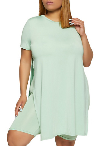 Plus Size Side Slit Tunic Top,GREEN,large
