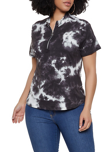Plus Size Tie Dye Zip Neck Top,CHARCOAL,large