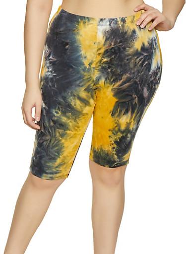 Plus Size Two Tone Tie Dye Bike Shorts,MUSTARD,large