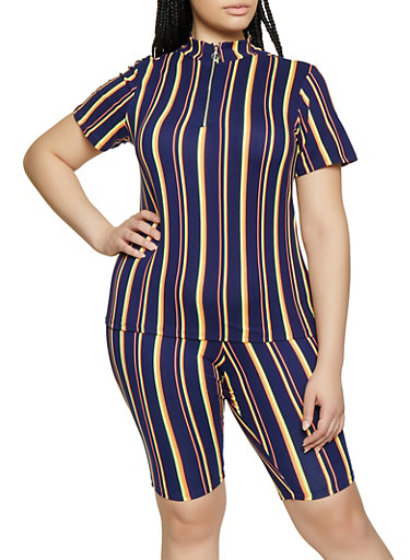 Plus Size Collared Zip Neck Striped Top,NAVY,large
