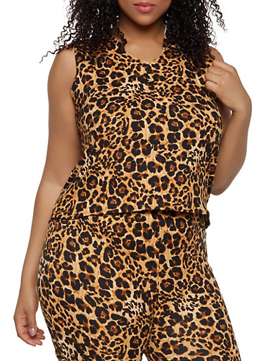 Plus Size Leopard Hooded Sleeveless Top,BLACK,large