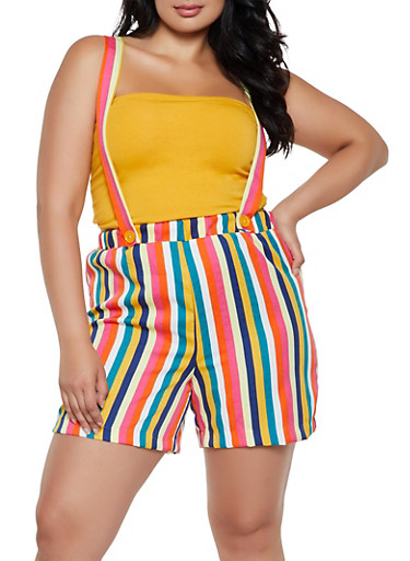 Plus Size Striped Suspender Shorts,YELLOW,large