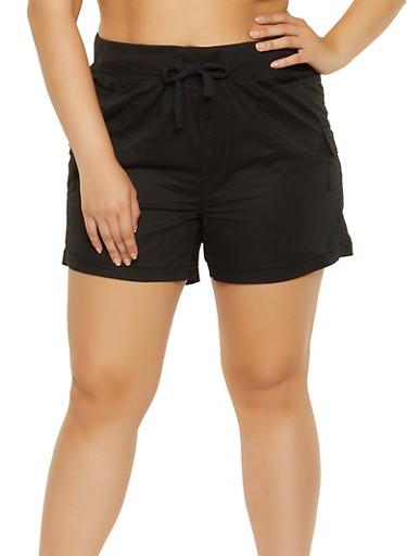 Plus Size Solid Cargo Shorts,BLACK,large