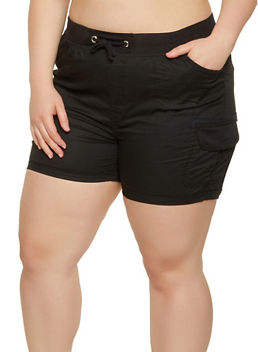 Plus Size Fixed Cuff Shorts | 0860038340278,BLACK,large