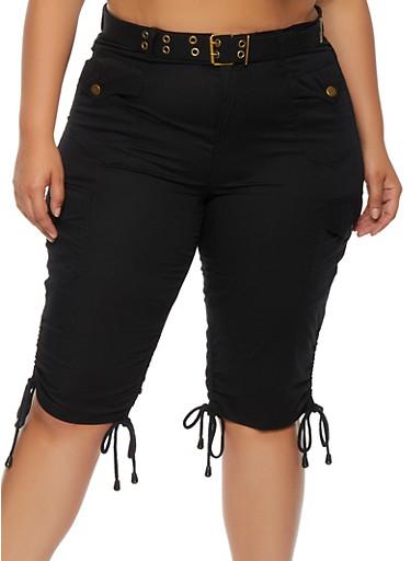 Plus Size Drawstring Side Cargo Shorts,BLACK,large