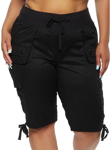Plus Size Bermuda Cargo Shorts,BLACK,large