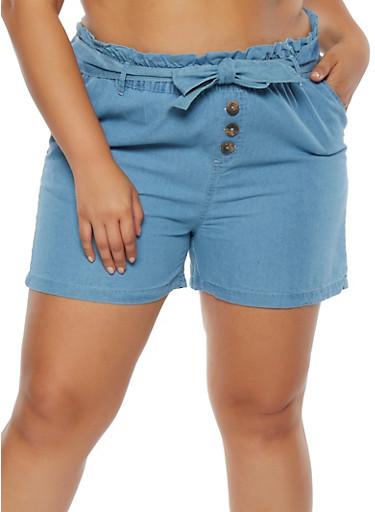 Plus Size Paper Bag Waist Chambray Shorts,LIGHT WASH,large