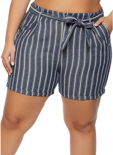 Plus Size Vertical Striped Chambray Shorts,BLUE,large