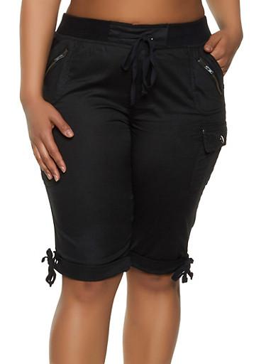 Plus Size Cargo Bermuda Shorts,BLACK,large