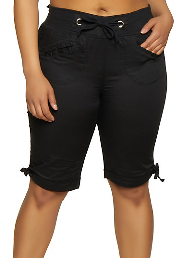 Plus Size Tie Leg Bermuda Shorts,BLACK,large