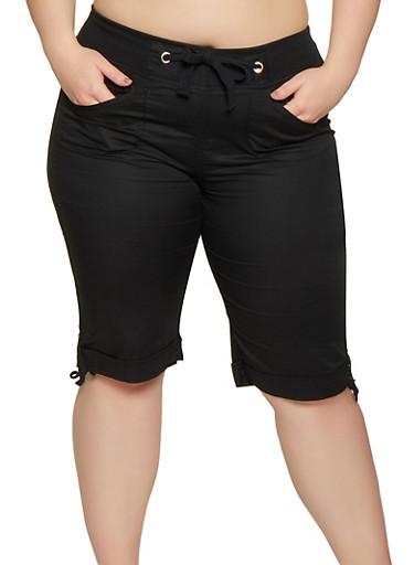 Plus Size Tie Cuff Bermuda Shorts | 0860038342926,BLACK,large