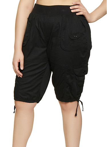 Plus Size Solid Cargo Bermuda Shorts,BLACK,large