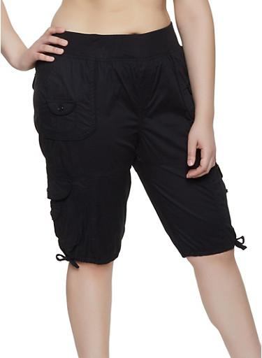Plus Size Pull On Cargo Bermuda Shorts,BLACK,large