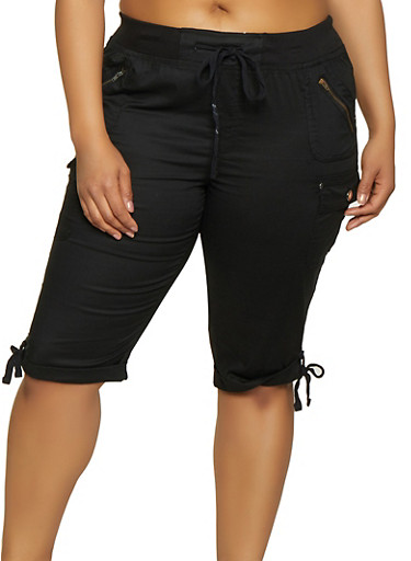 Plus Size Tie Cuff Bermuda Shorts,BLACK,large