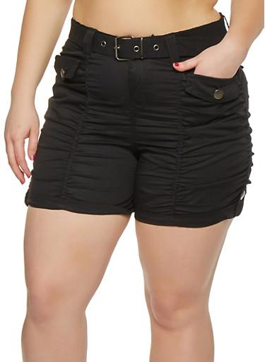 Plus Size Belted Cargo Shorts,BLACK,large