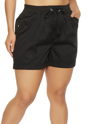 Plus Size Cargo Shorts,BLACK,large