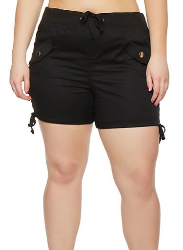 Plus Size Drawstring Cargo Shorts,BLACK,large