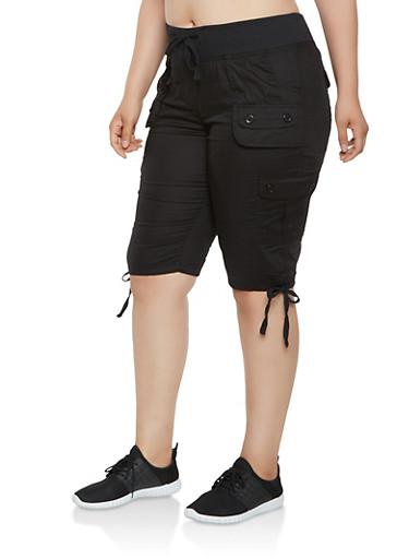 Plus Size Drawstring Hem Cargo Bermuda Shorts,BLACK,large