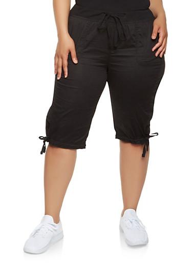 Plus Size Tie Hem Cargo Capri Pants,BLACK,large