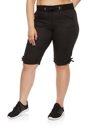 Plus Size Fixed Cuff Cargo Bermuda Shorts,BLACK,large