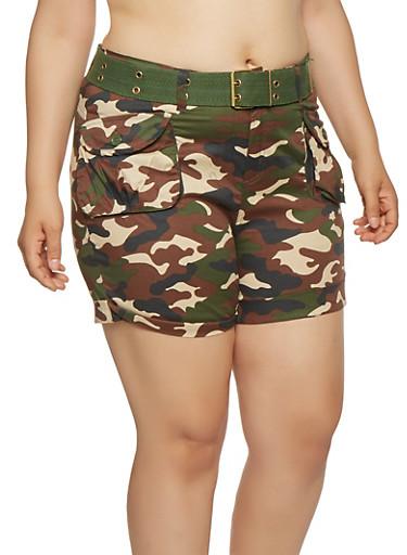 Plus Size Camo Belted Cargo Shorts,OLIVE,large