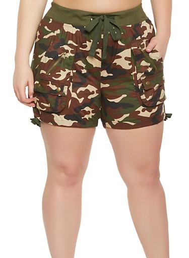 Plus Size Camo Cargo Shorts,OLIVE,large