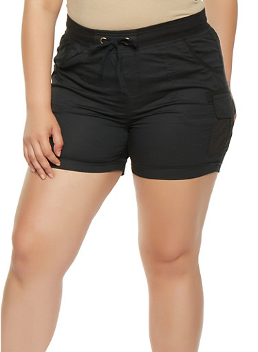 Plus Size Cargo Shorts,BLACK,large