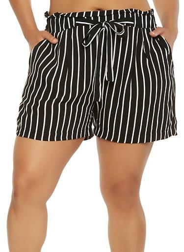 Plus Size Striped Tie Front Shorts,BLACK,large