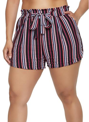 Plus Size Paper Bag Waist Striped Shorts,BLACK,large