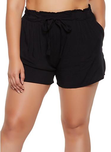 Plus Size Paper Bag Waist Lightweight Shorts,BLACK,large