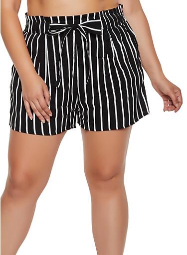 Plus Size Striped Paper Bag Waist Lightweight Shorts,BLACK/WHITE,large