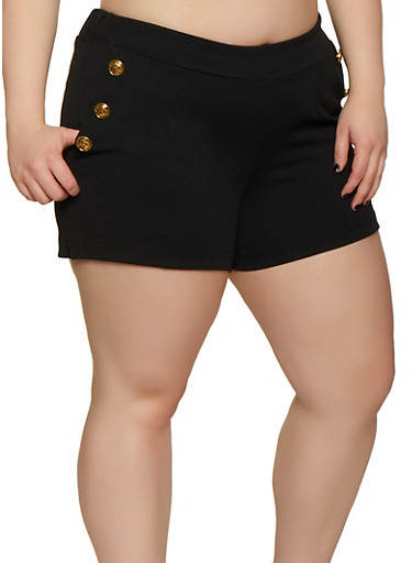 Plus Size Sailor Shorts,BLACK,large