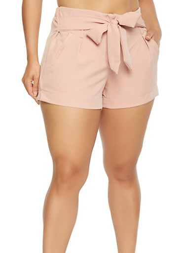 Plus Size Tie Front Shorts,PINK,large