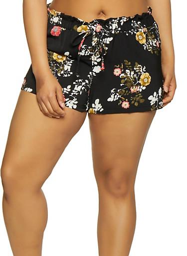 Plus Size Paper Bag Waist Floral Shorts,BLACK,large