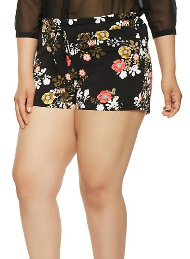Plus Size Floral Paper Bag Waist Shorts,BLACK,large
