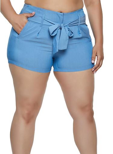 Plus Size Tie Front Shorts | 0860056573213,LIGHT WASH,large
