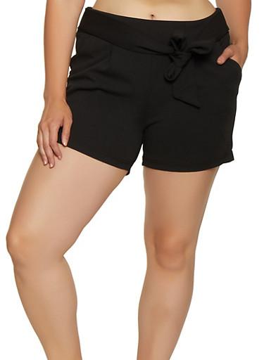 Plus Size Tie Front Crepe Knit Shorts,BLACK,large