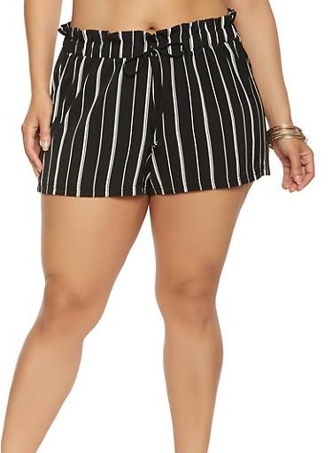 Plus Size Striped Paper Bag Waist Shorts,BLACK/WHITE,large