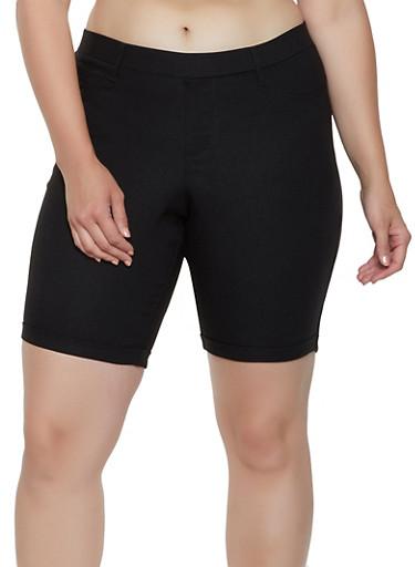 Plus Size Hyperstretch Bermuda Shorts,BLACK,large