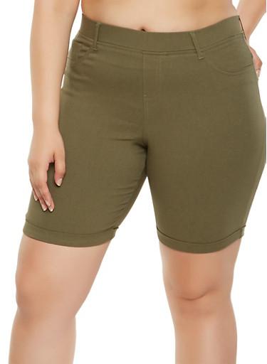 Plus Size Stretch Bermuda Shorts,OLIVE,large