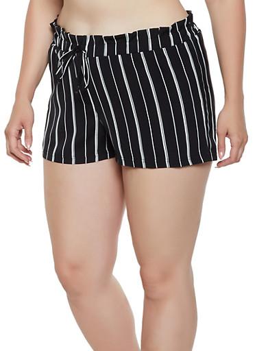 Plus Size Two Tone Striped Shorts,BLACK/WHITE,large