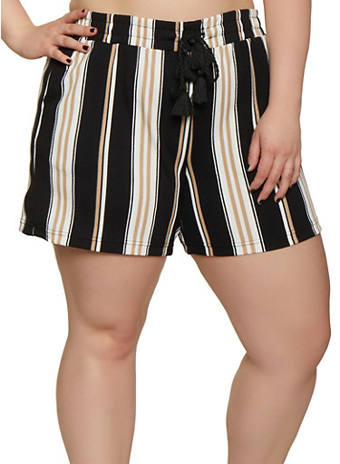 Plus Size Textured Knit Elastic Waist Striped Shorts,BLACK,large