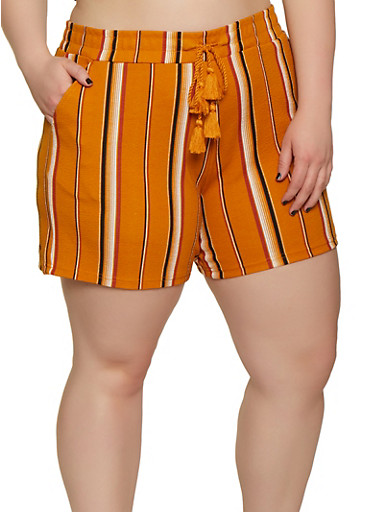 Plus Size Elastic Waist Textured Knit Striped Shorts,MUSTARD,large