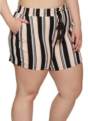 Plus Size Striped Textured Knit Shorts,MAUVE,large
