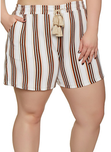 Plus Size Elastic Waist Striped Shorts,WHITE,large