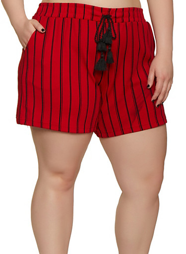 Plus Size Textured Knit Striped Elastic Waist Shorts,RED,large