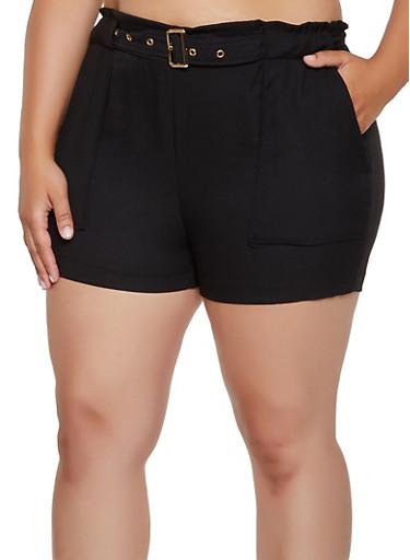 Plus Size Crepe Knit Belted Shorts,BLACK,large