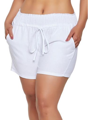 Plus Size Smocked Waist Shorts,WHITE,large
