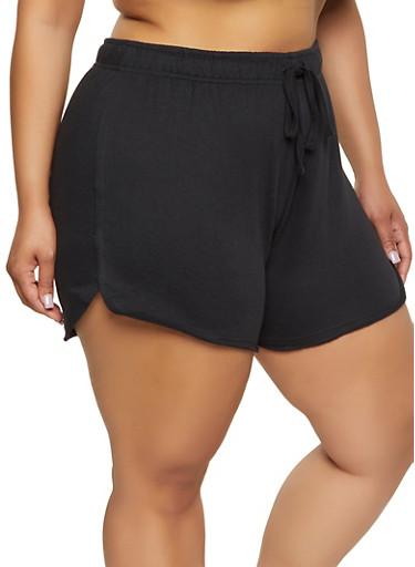 Plus Size Solid Raw Hem Sweatshorts,BLACK,large