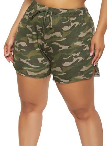 Plus Size Printed Drawstring Waist Shorts,OLIVE,large